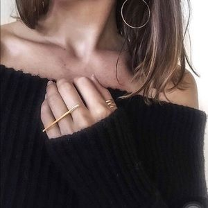 Geometric Long Bar Knuckle Rings in Gold or Silver